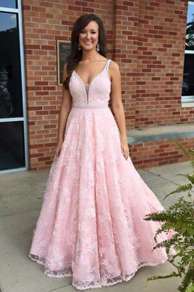 Pink lace V-neck modest handmade graduation dress prom