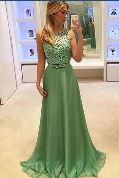 Simple green chiffon round-neck formal prom dressï¼long