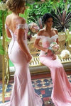 Pink chiffon lace off-shoulder long prom dresses bridesmaid