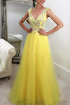 Yellow tulle sequins beading v-neck graduation dress prom