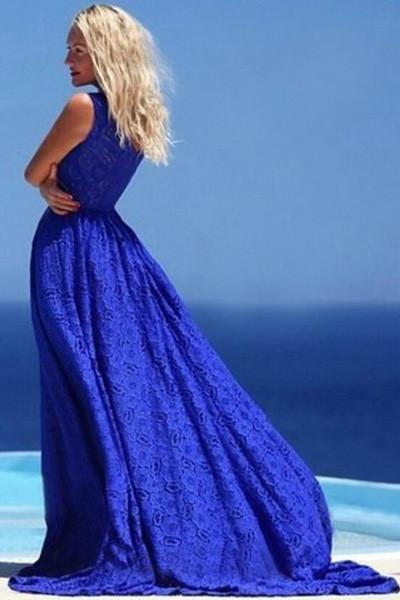 Simple blue lace round neck long prom dress summer