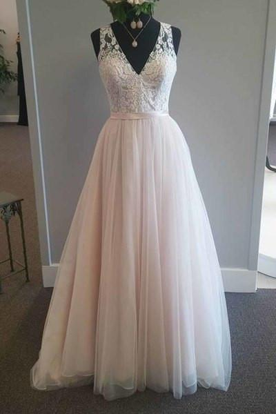 Pretty pink tulle lace v-neck A-line long dress prom dress for