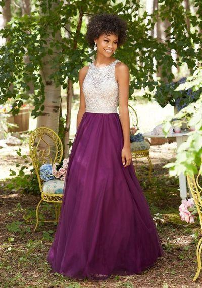 Purple Chiffon Round Neck Sequins Long Sleeveless Floor-Length Prom Dresses