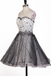 Romantic A Line Sweetheart Open Back Beaded Tulle Short Homecoming Dresses