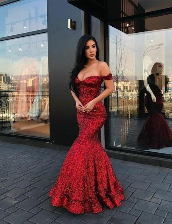 Red Mermaid Long V Neck Prom Dresses Off the Shoulder Evening Party Dresses