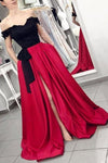 Red Off the Shoulder Satin Black Appliques V Neck Prom Dresses with Split Pockets