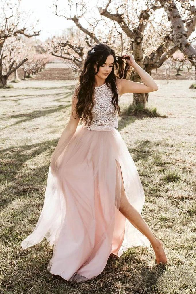 Round Neck Tulle Two Piece Pink Boho Prom Dresses