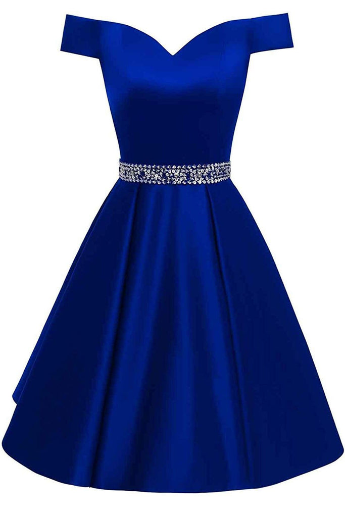 Royal Blue Short Beaded Prom Dresses Off The Shoulder Backless Homecoming Dress