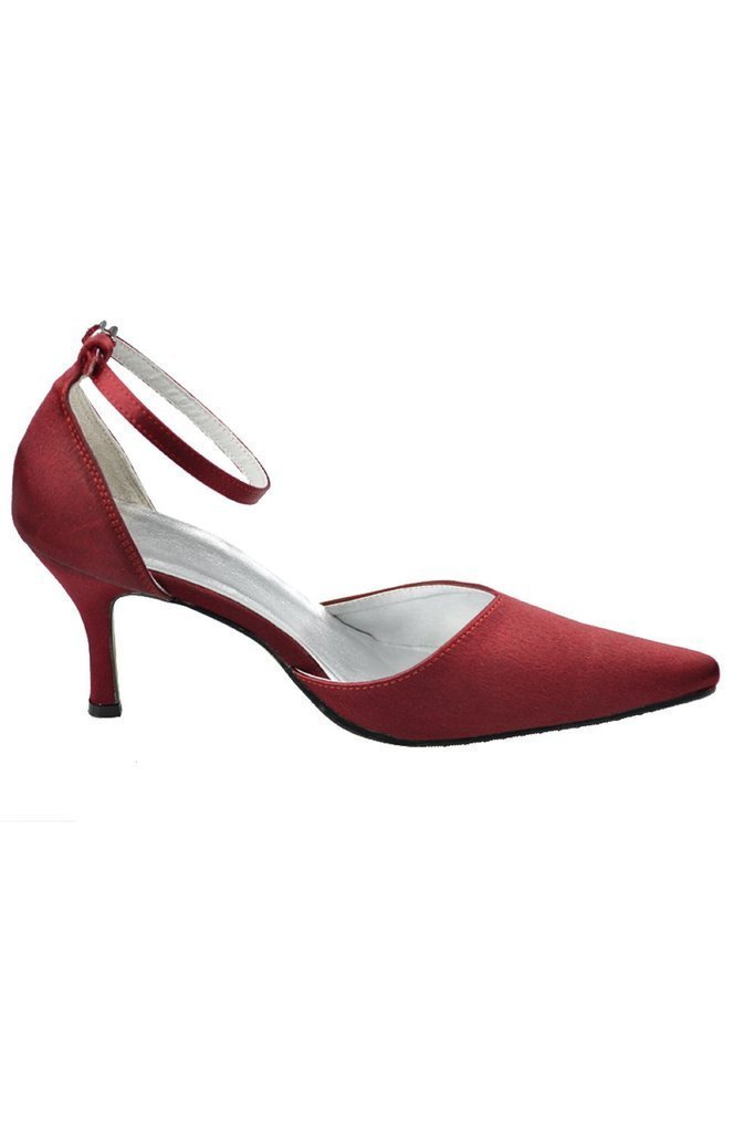 Burgundy Ankle Strap Comfy Close Toe Wedding Dress For Women