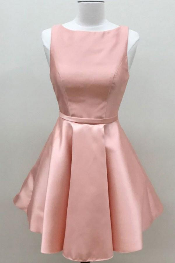 Simple A Line Pink Satin Scoop Cheap Short Prom Dresses Homecoming Dresses