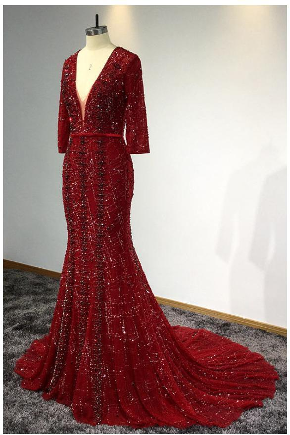 Sexy Mermaid 3/4 Sleeve V Neck Open Back Beads Burgundy Long Cheap Prom Dresses