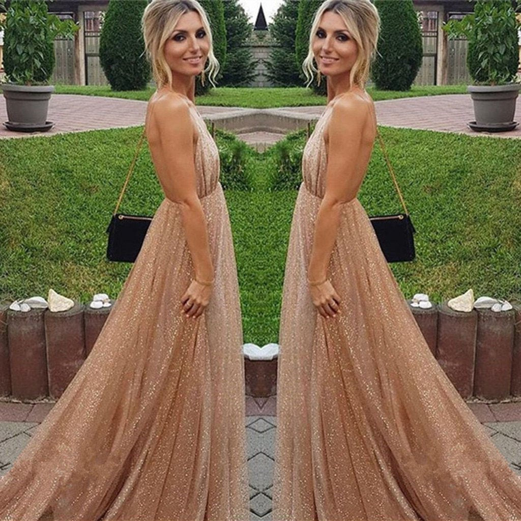 Sexy A-line Spaghetti Straps Deep V-neck Sexy Backless Sequins Prom Party Dresses