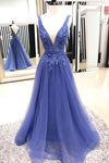 Sexy A Line Deep V Neck Sleeveless Lace Tulle Long Prom Dresses Evening Dresses
