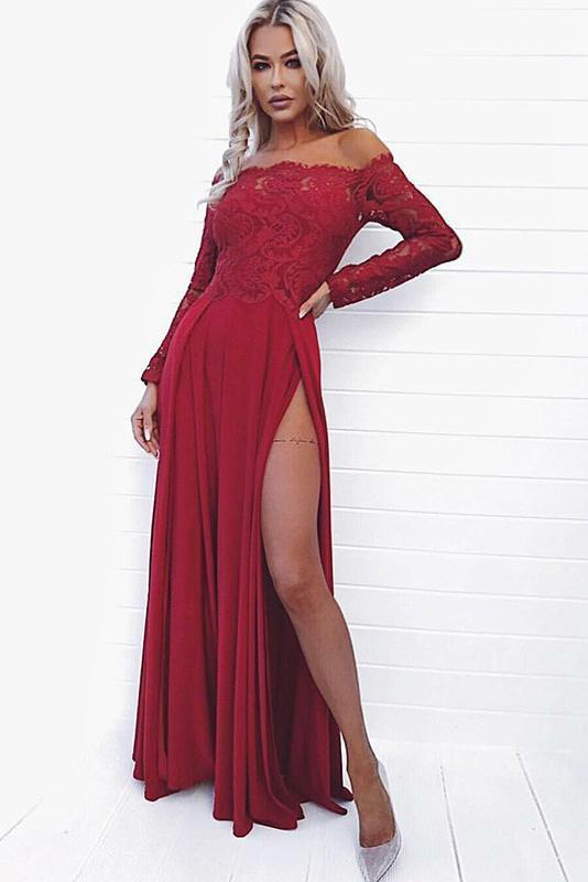 Sexy A Line Off the Shoulder Long Sleeve Dark Red Prom Dress with Lace High Split