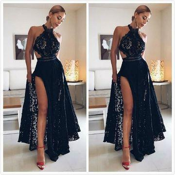 Sexy Black Lace High Split Prom Dresses Halter Floor Length Long Evening Dresses