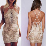 Sexy Halter Sheath Backless Lace Appliques Homecoming Dresses with Sleeveless