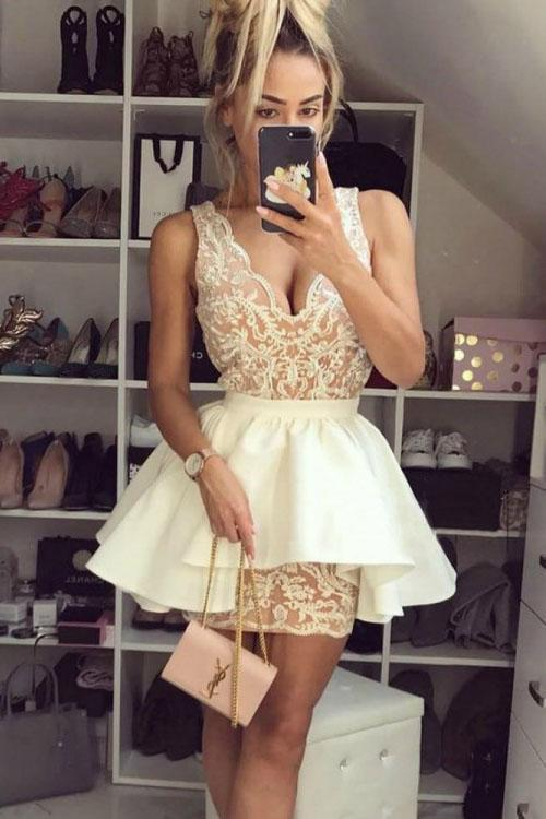 Sexy Lace V Neck Above Knee Sheath Homecoming Dresses with Satin Short Prom Dresses