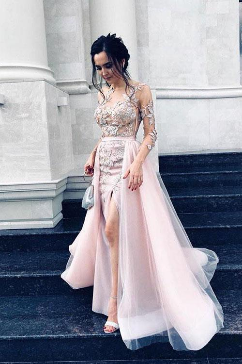 Sexy Long Sleeve Pink Tulle Lace Appliques Mermaid Prom Dresses Evening Dresses