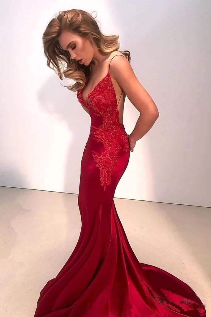 Sexy Mermaid Backless Prom Dress Nude V Neck Long Lace Spaghetti Straps Prom Dresses