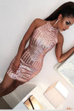 Sexy Rose Gold Jewel Sheath Mini Short Prom Dresses Homecoming Dress Cocktail Dress