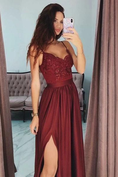 Sexy Slit Burgundy Spaghetti Straps Sweetheart Prom Dresses Long Prom Party Dresses