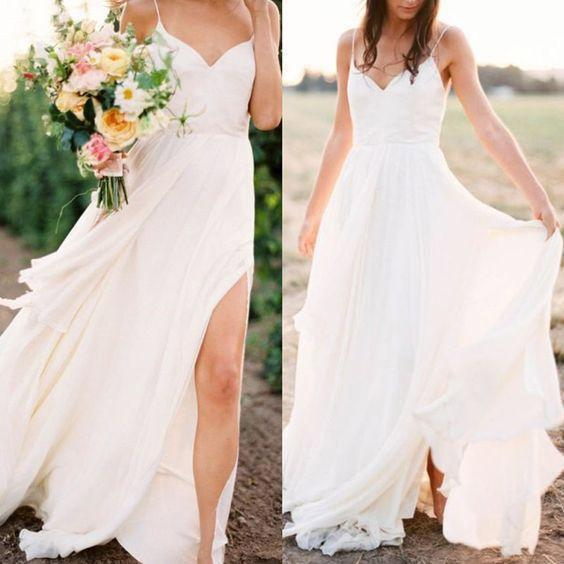 Sexy Spaghetti Straps Boho Bridal Dress with Slit V Neck Side Slit Beach Wedding Dresses