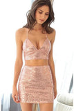 Sexy Two Pieces Sequins Pink Spaghetti Straps Sheath V Neck Homecoming Dress
