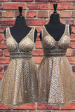 Sexy V Neck Sequins Straps Above Knee Homecoming Dresses Short Prom Dresses