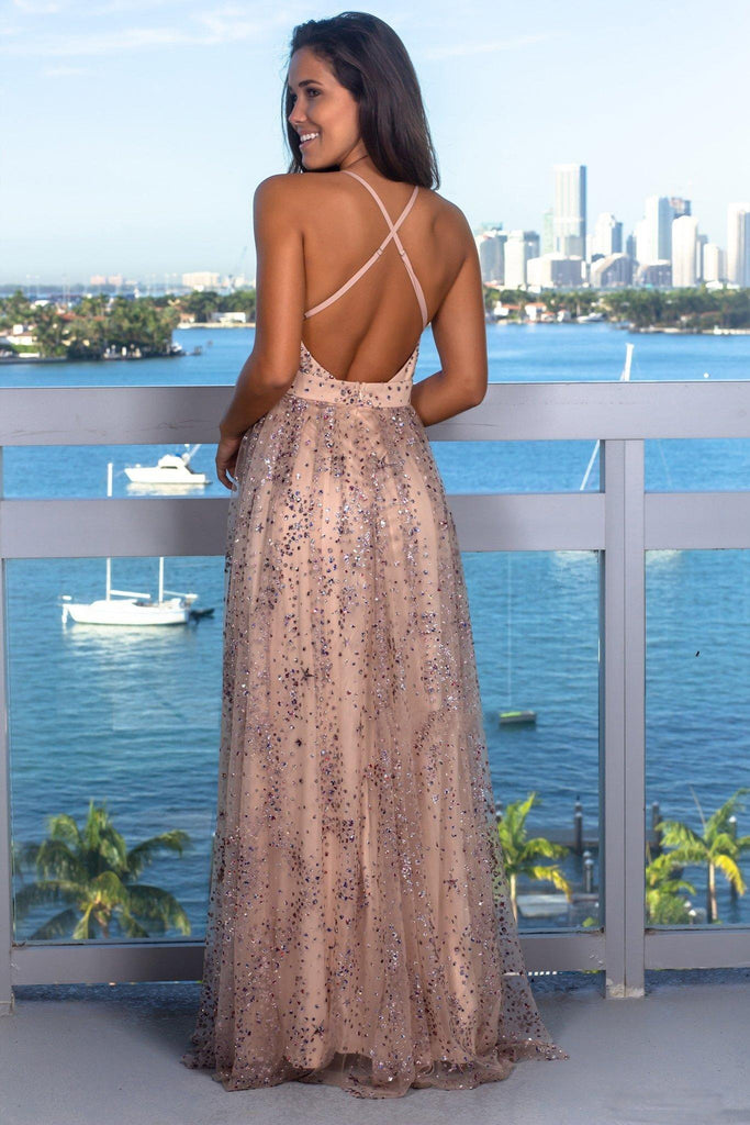 Sexy V Neck Sleeveless Sequins Criss Cross Crystals Beads Evening Gowns With Split
