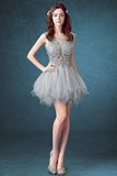 Short Sexy See Through Lace Tulle Gray Homecoming Dresses with Sequins Party Dresses