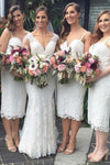 Short Sheath Sleeveless Spaghetti Straps Ivory Ankle Length Lace Bridesmaid Dresses