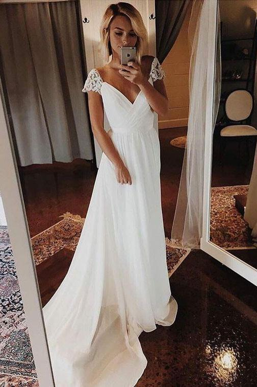 Simple A Line Chiffon Wedding Dresses Cap Sleeve V Neck Bohemian Beach Bridal Gowns