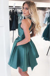 Simple A Line Open Back Dark Green Halter Short Homecoming Dress With Pockets