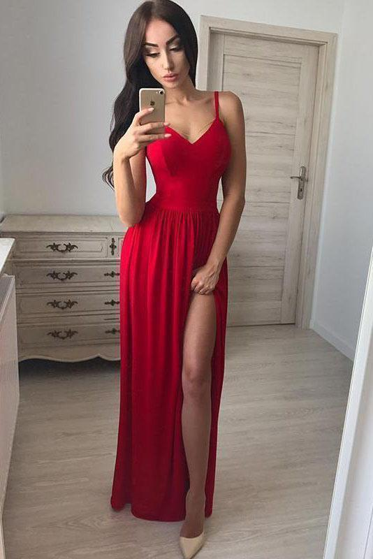 Simple A line Red Spaghetti Straps Chiffon Prom Dresses V Neck Side Slit Evening Dress