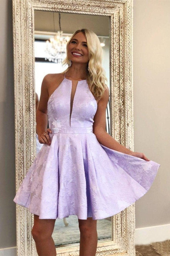 Simple Lilac Jacquard Floral Homecoming Dresses with Pocket Halter Graduation Dresses