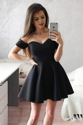 Simple Off the Shoulder Black Homecoming Dresses Sweetheart Satin Short Prom Dresses