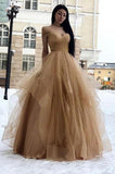 Simple Off the Shoulder V Neck Tulle Prom Gowns Long Cheap Party Dress Formal Dress