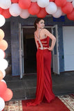 Simple Red Mermaid High Neck Prom Dresses Chiffon Open Back Evening Dresses