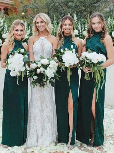 Simple Sheath High Neck Dark Green Bridesmaid Dress with Split Long Prom Dresses