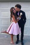 Simple V Neck Straps Short Pink Homecoming Dress Backless Satin Sweet 16 Dresses