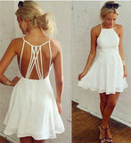 Simple White Spaghetti Straps Prom Dress Open Back Evening Dress Homecoming Dress