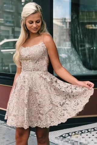 Spaghetti Straps Backless Lace Homecoming Dress Short Lace Graduation Dresses