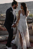 Spaghetti Straps Lace Appliques V Neck Criss Cross Wedding Dresses Beach Wedding Gowns