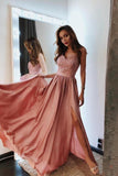Spaghetti Straps Pink V Neck Prom Dresses Lace and Beaded Prom Dress with Slit