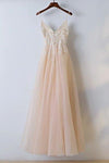 Spaghetti Straps V Neck Tulle With Appliques Prom Dresses Long Cheap Formal Dress