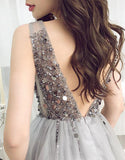 Sparkle Short Grey Sequins Party Dress V Neck Tulle Backless Homecoming Dresses