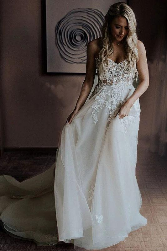 Strapless Beads Tulle Ivory Wedding Dresses V Neck Lace Appliques Beach Wedding Gowns