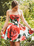 Strapless Red Floral Print Homecoming Dresses with Pockets Vintage Short Prom Dresses