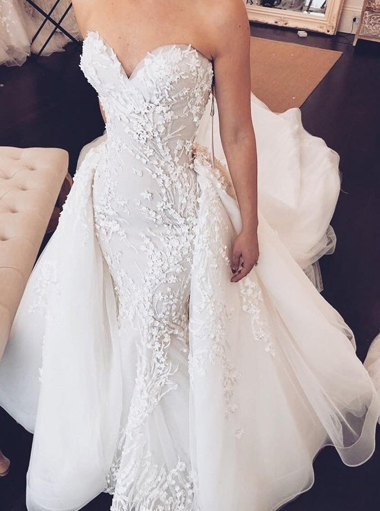 Sweetheart Mermaid Strapless Lace Appliques Wedding Dress with Detachable Train