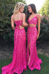 Two Pieces Mermaid Spaghetti Straps V-Neck Fuchsia Lace Split Lace up Prom Dresses